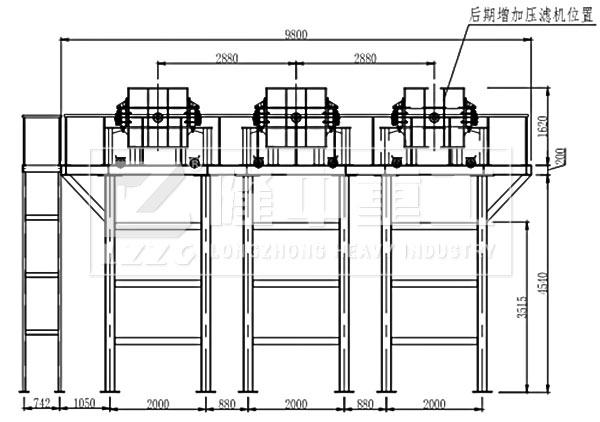 壓濾車間及三氫淨化體B向視圖